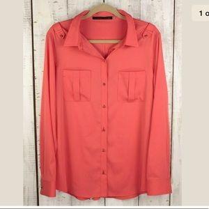 Ivanka Trump Orange Melon Long Sleeve Blouse XL